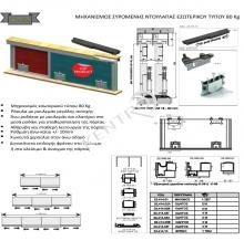 Μηχανισμός συρόμενης ντουλάπας εσωτερικού τύπου 80 Κg