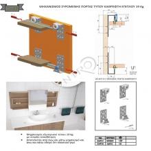 Μηχανισμός συρόμενης πόρτας τύπου καθρέφτη επίπλου 19 Kg