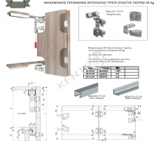 Μηχανισμός συρόμενης ντουλάπας τύπου σπαστής πόρτας 40 Κg