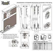 Μηχανισμός συρόμενης ντουλάπας εσωτερικού τύπου  50Kg