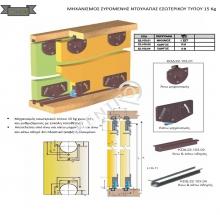 Μηχανισμός συρόμενης ντουλάπας εσωτερικού τύπου 15 Κg