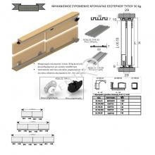 Μηχανισμός συρόμενης ντουλάπας εσωτερικού τύπου 30 Κg