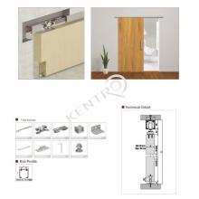 Σετ μηχανισμός συρόμενης πόρτας 60 Kg SOFT 9010